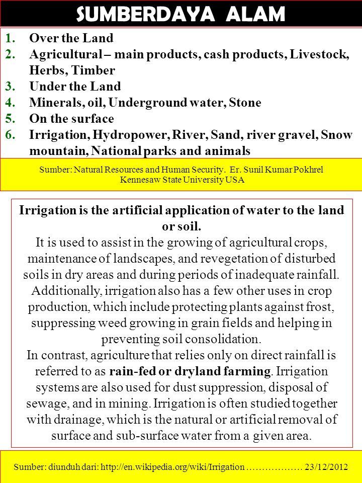 Techniques to increase crop output per unit area of cultivated land (since world was running out of arable land) Special crop breeds (drought-tolerant, salt-tolerant, etc.) are a key component.