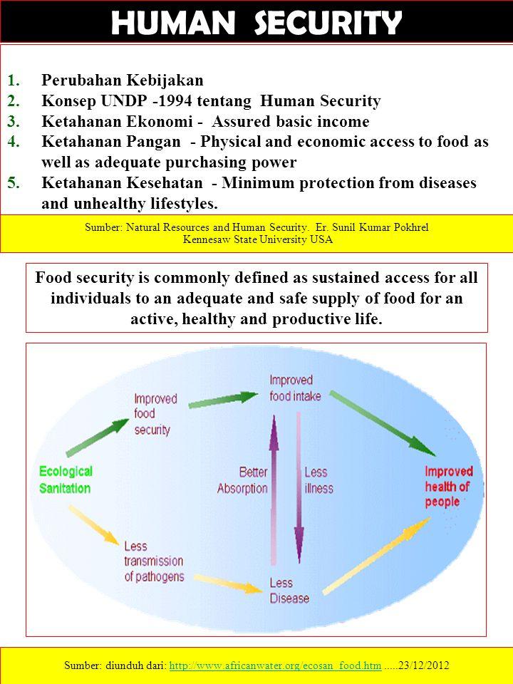 1.Perubahan Kebijakan 2.Konsep UNDP -1994 tentang Human Security 3.Ketahanan Ekonomi - Assured basic income 4.Ketahanan Pangan - Physical and economic