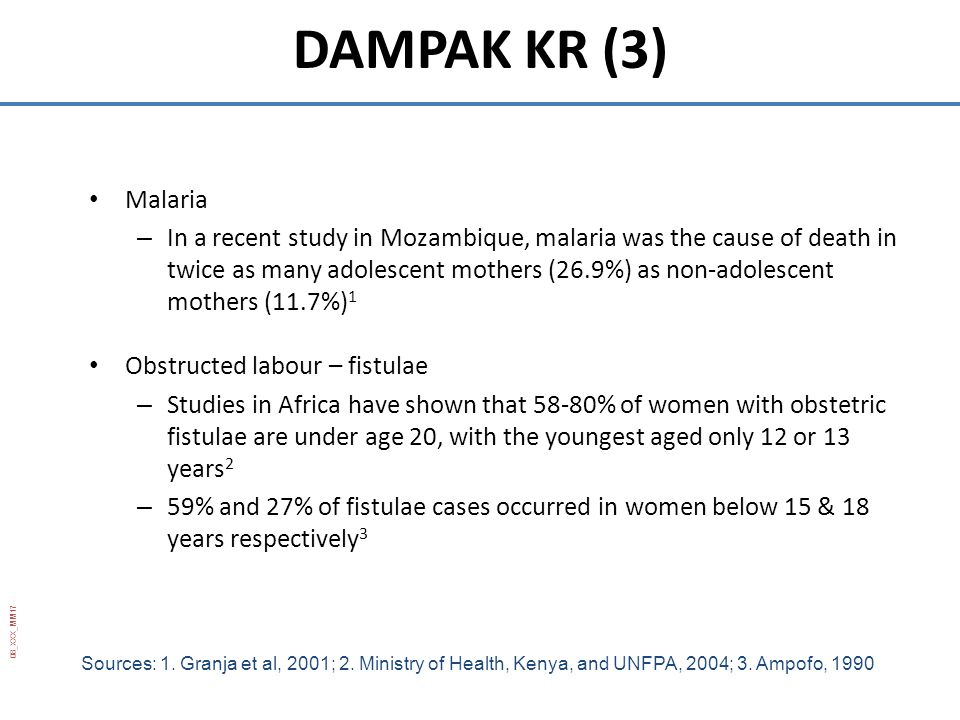 08_XXX_MM17 Malaria – In a recent study in Mozambique, malaria was the cause of death in twice as many adolescent mothers (26.9%) as non-adolescent mo