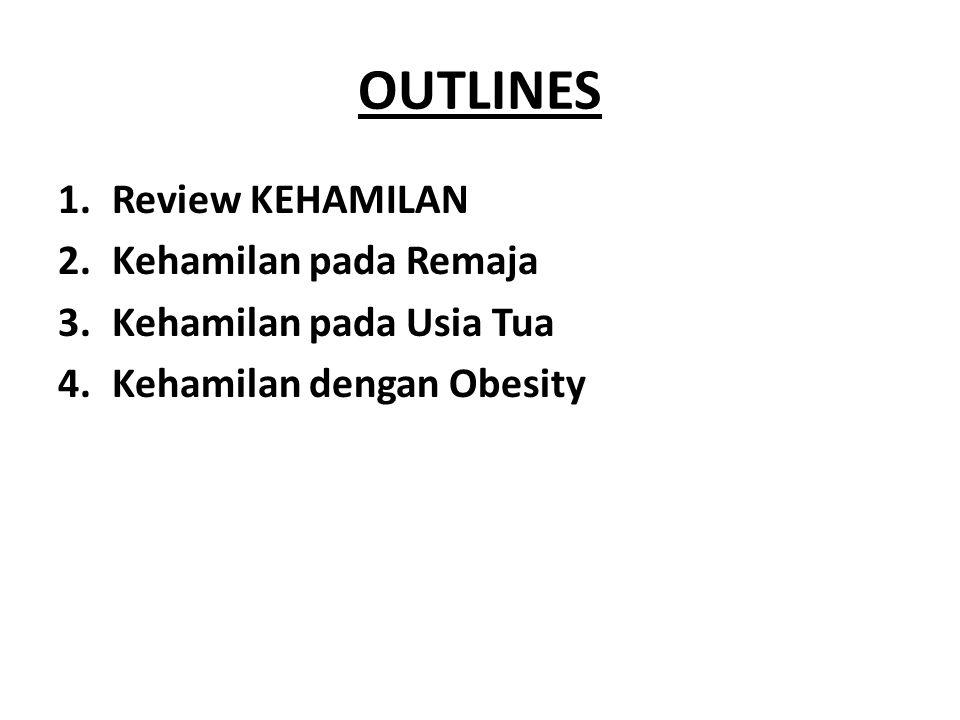 OUTLINES 1.Review KEHAMILAN 2.Kehamilan pada Remaja 3.Kehamilan pada Usia Tua 4.Kehamilan dengan Obesity