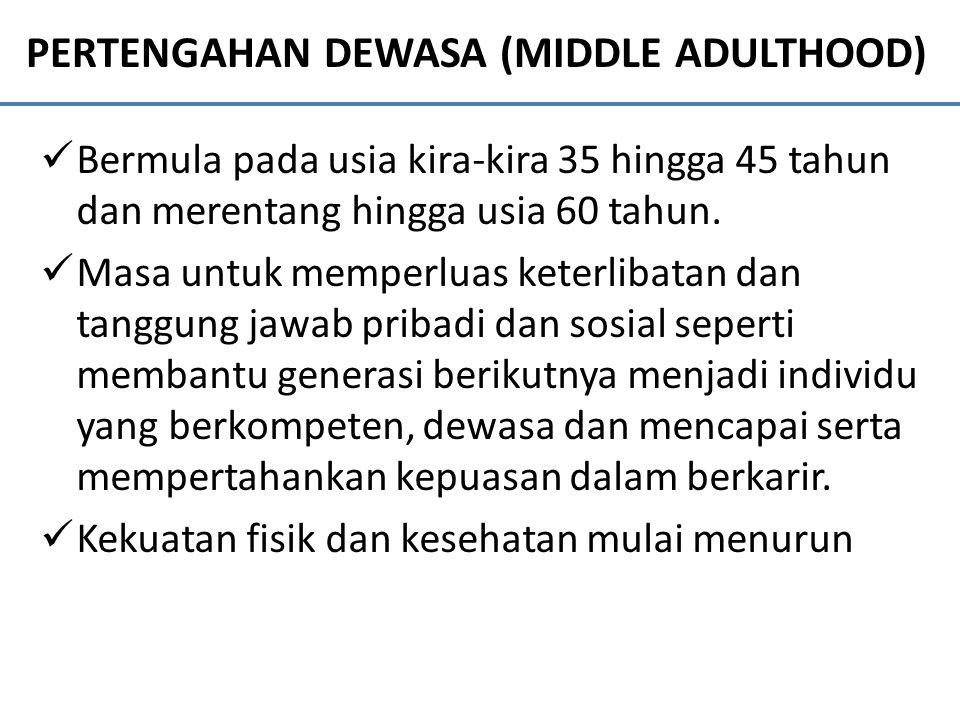 PERTENGAHAN DEWASA (MIDDLE ADULTHOOD) Bermula pada usia kira-kira 35 hingga 45 tahun dan merentang hingga usia 60 tahun. Masa untuk memperluas keterli