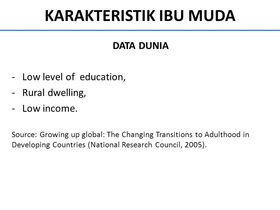 KARAKTERISTIK IBU MUDA DATA DUNIA -Low level of education, -Rural dwelling, -Low income. Source: Growing up global: The Changing Transitions to Adulth