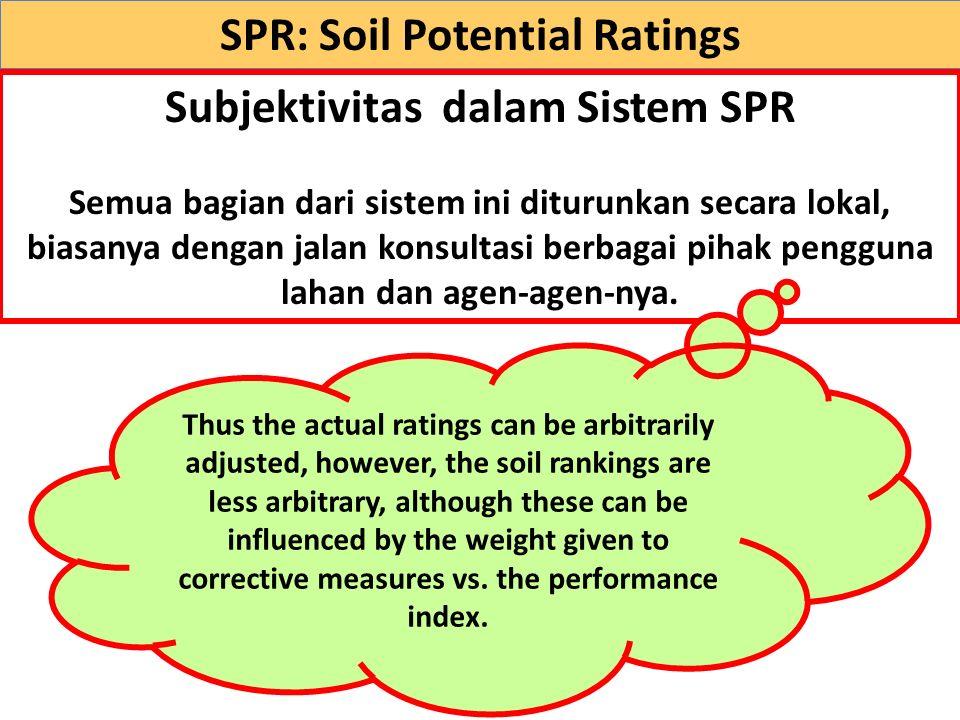 Subjektivitas dalam Sistem SPR Semua bagian dari sistem ini diturunkan secara lokal, biasanya dengan jalan konsultasi berbagai pihak pengguna lahan da