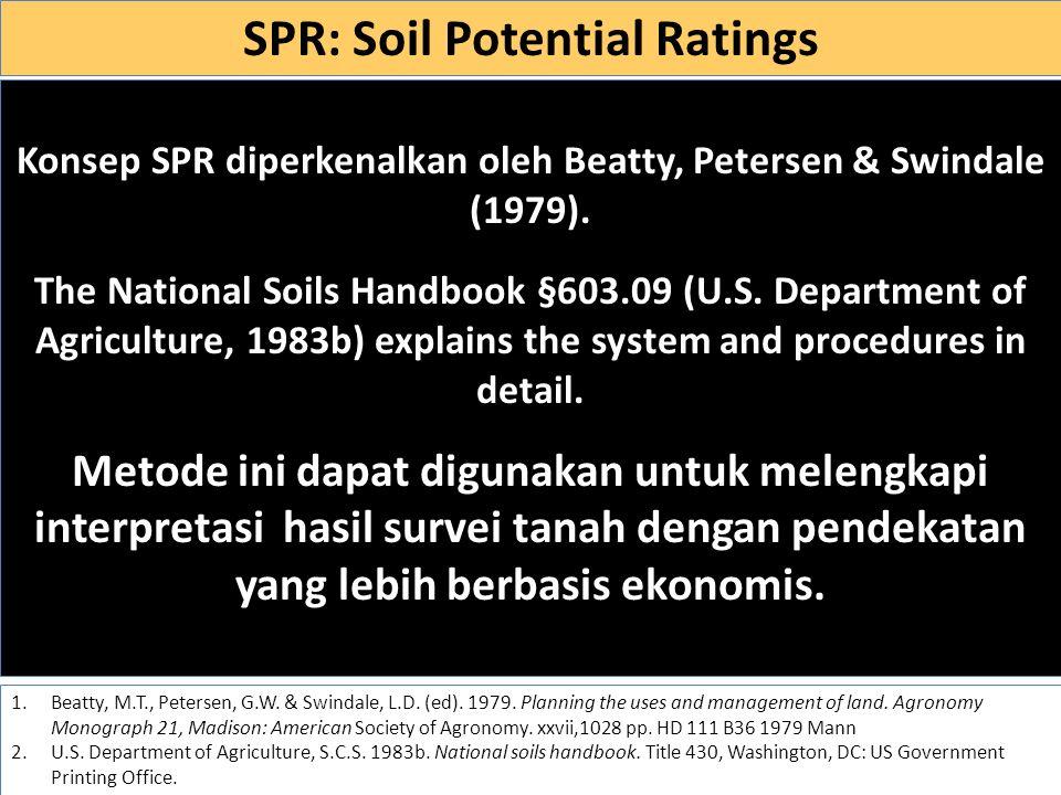 Definisi SPR adalah kelas-kelas yg menyatakan kualitas relatif suatu tanah untuk penggunaan tertentu dibandingkan dnegan tanah-tanah lainnya di suatu lokasi yang dievaluasi.