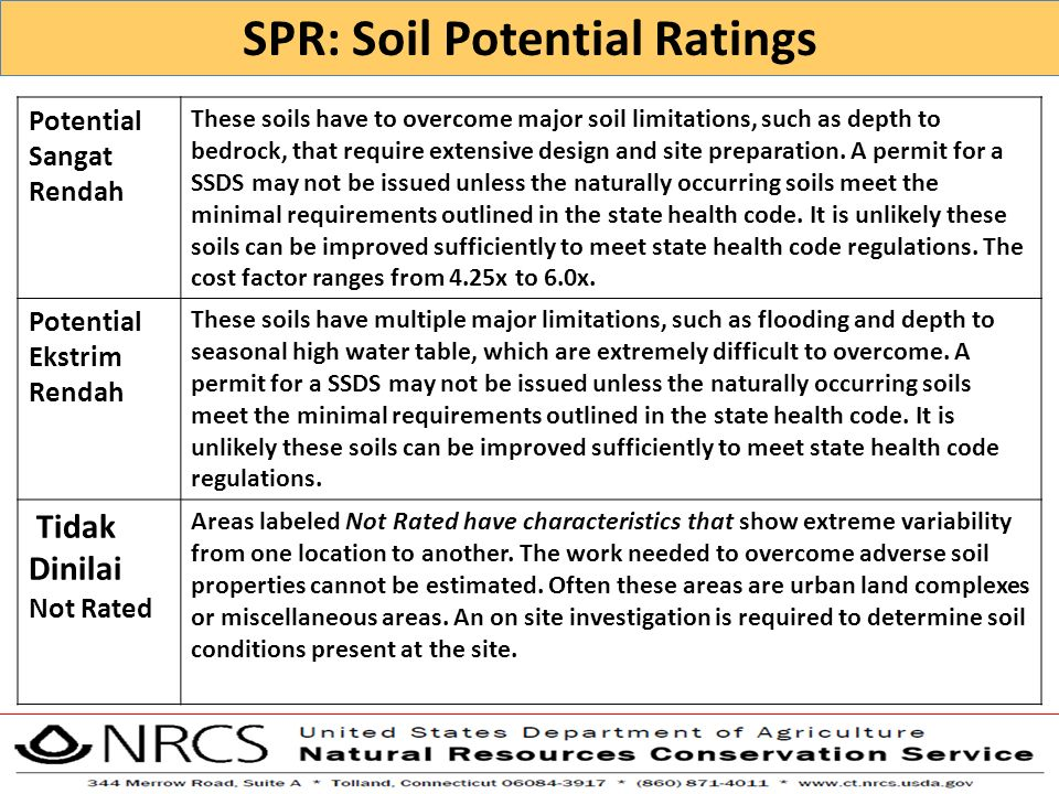 SPR: Soil Potential Ratings Potential Sangat Rendah These soils have to overcome major soil limitations, such as depth to bedrock, that require extens
