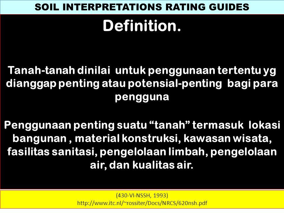 SOIL INTERPRETATIONS RATING GUIDES (430-VI-NSSH, 1993) http://www.itc.nl/~rossiter/Docs/NRCS/620nsh.pdf Definition. Tanah-tanah dinilai untuk pengguna