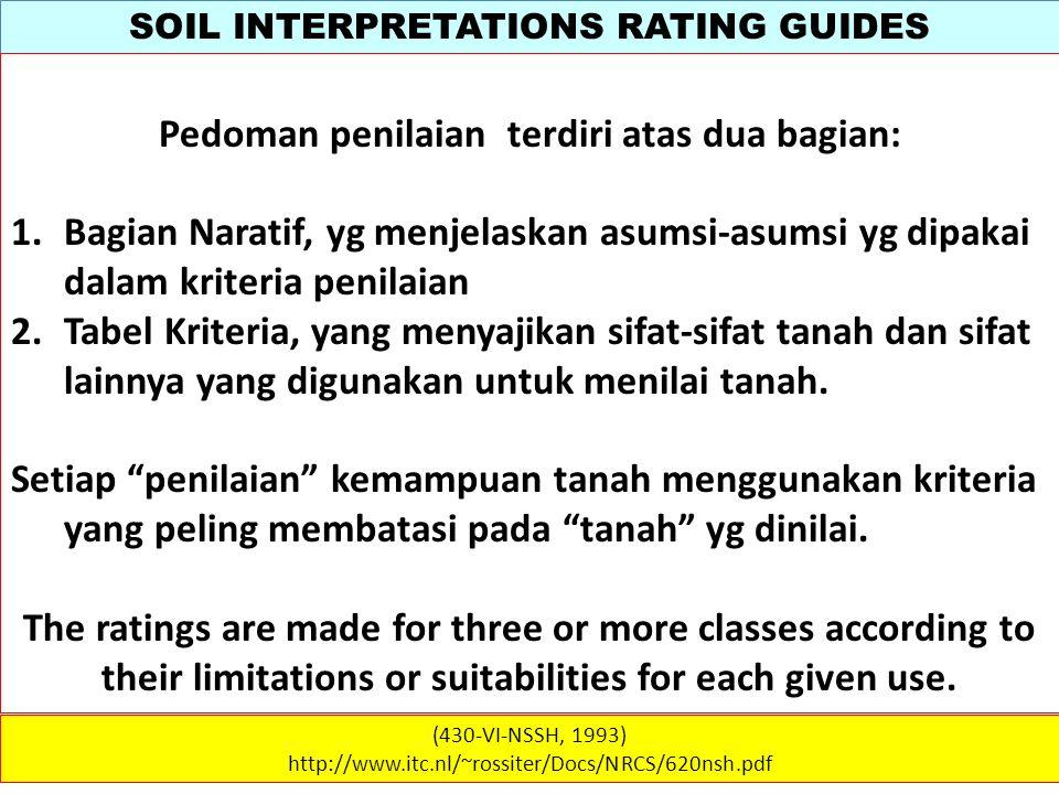 SOIL INTERPRETATIONS RATING GUIDES (430-VI-NSSH, 1993) http://www.itc.nl/~rossiter/Docs/NRCS/620nsh.pdf Pedoman penilaian terdiri atas dua bagian: 1.B