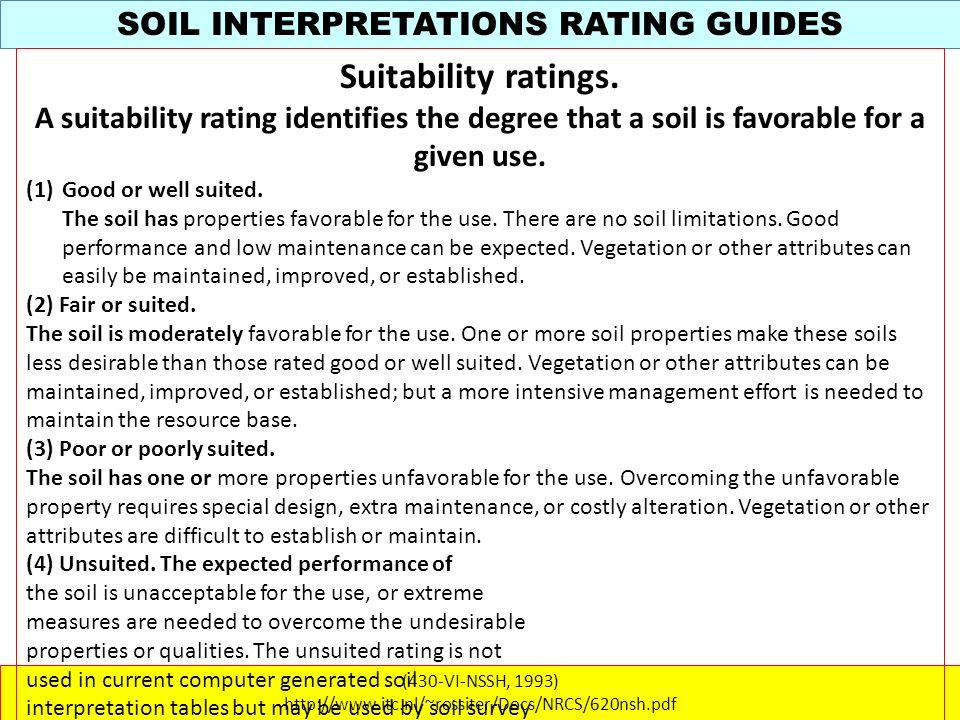 SOIL INTERPRETATIONS RATING GUIDES (430-VI-NSSH, 1993) http://www.itc.nl/~rossiter/Docs/NRCS/620nsh.pdf Suitability ratings. A suitability rating iden