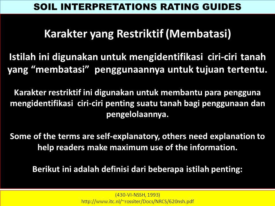 SOIL INTERPRETATIONS RATING GUIDES (430-VI-NSSH, 1993) http://www.itc.nl/~rossiter/Docs/NRCS/620nsh.pdf Karakter yang Restriktif (Membatasi) Istilah i