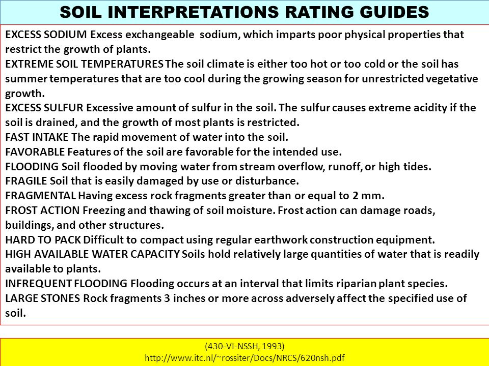 SOIL INTERPRETATIONS RATING GUIDES (430-VI-NSSH, 1993) http://www.itc.nl/~rossiter/Docs/NRCS/620nsh.pdf EXCESS SODIUM Excess exchangeable sodium, whic