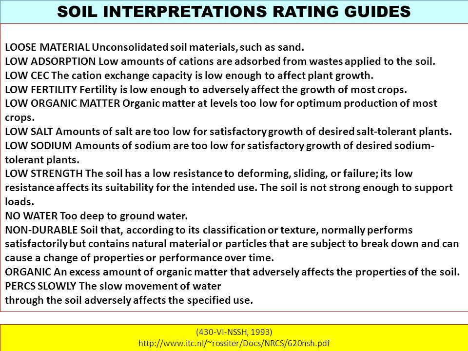 SOIL INTERPRETATIONS RATING GUIDES (430-VI-NSSH, 1993) http://www.itc.nl/~rossiter/Docs/NRCS/620nsh.pdf LOOSE MATERIAL Unconsolidated soil materials,