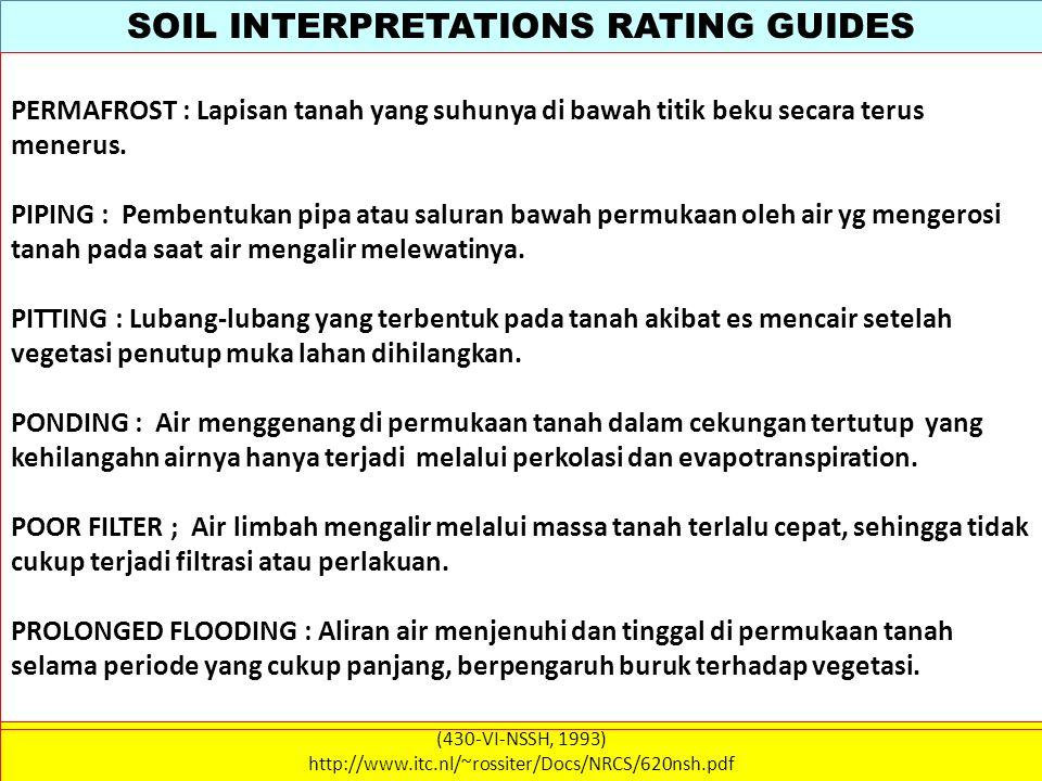 SOIL INTERPRETATIONS RATING GUIDES (430-VI-NSSH, 1993) http://www.itc.nl/~rossiter/Docs/NRCS/620nsh.pdf PERMAFROST : Lapisan tanah yang suhunya di baw