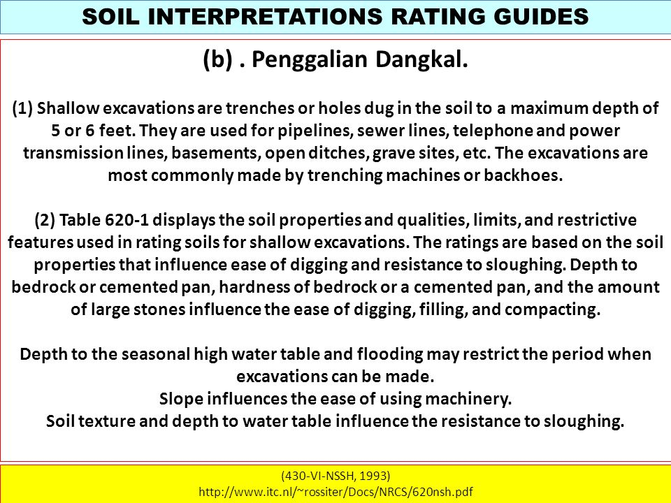 SOIL INTERPRETATIONS RATING GUIDES (430-VI-NSSH, 1993) http://www.itc.nl/~rossiter/Docs/NRCS/620nsh.pdf (b). Penggalian Dangkal. (1) Shallow excavatio