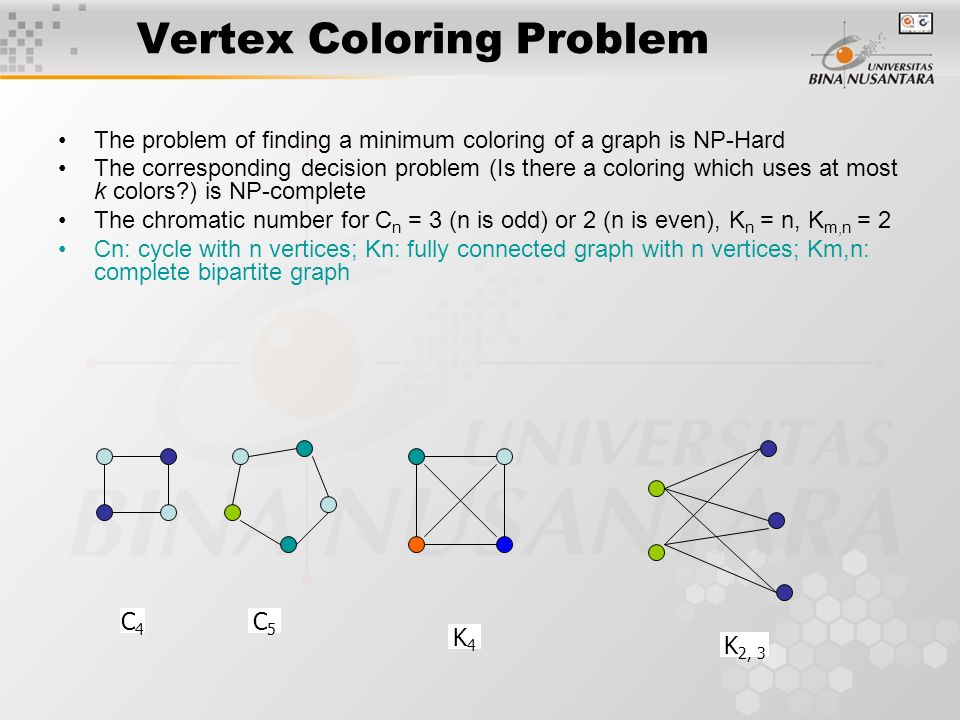 Vertex Coloring Problem Assignment of colors to the vertices of the graph such that proper coloring takes place (no two adjacent vertices are assigned
