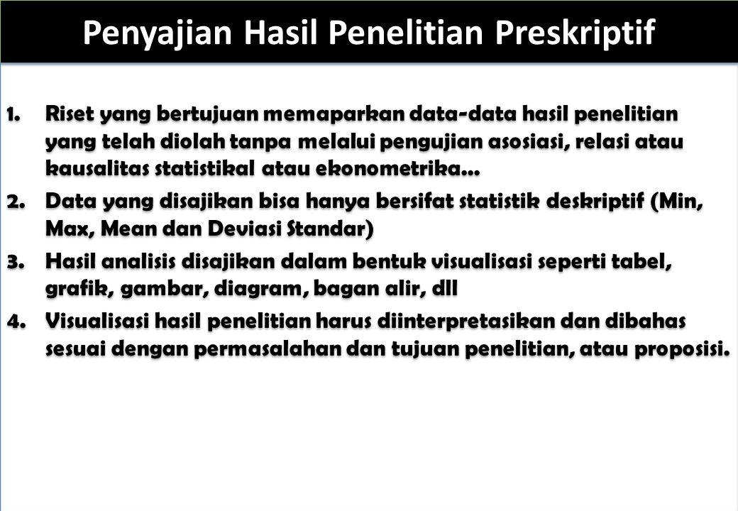 Penyajian Hasil Penelitian Preskriptif 1.Riset yang bertujuan memaparkan data-data hasil penelitian yang telah diolah tanpa melalui pengujian asosiasi