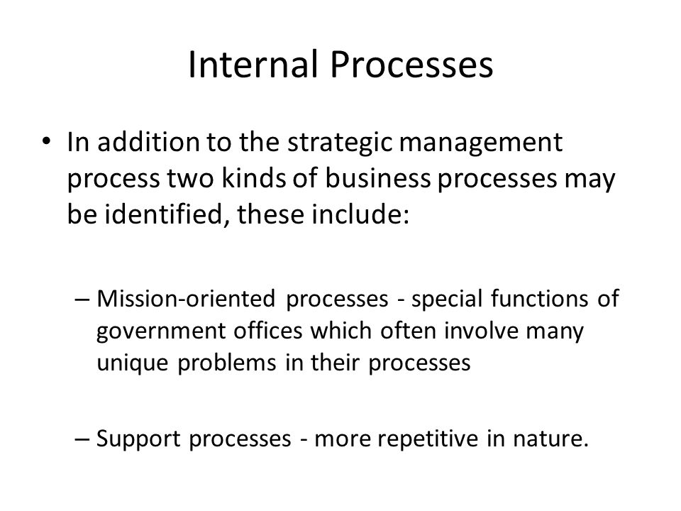 Internal Processes In addition to the strategic management process two kinds of business processes may be identified, these include: – Mission-oriented processes - special functions of government offices which often involve many unique problems in their processes – Support processes - more repetitive in nature.