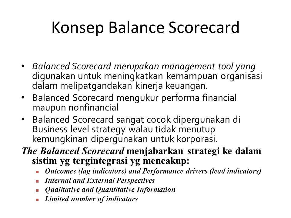 Konsep Balance Scorecard Balanced Scorecard merupakan management tool yang digunakan untuk meningkatkan kemampuan organisasi dalam melipatgandakan kinerja keuangan.