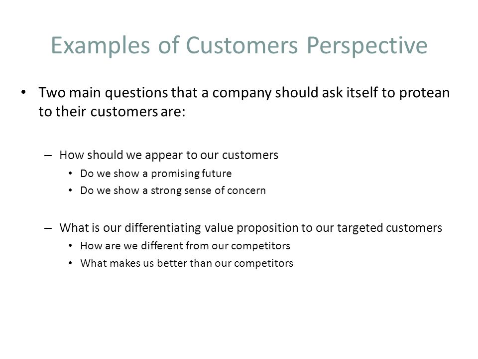 Examples of Customers Perspective Two main questions that a company should ask itself to protean to their customers are: – How should we appear to our customers Do we show a promising future Do we show a strong sense of concern – What is our differentiating value proposition to our targeted customers How are we different from our competitors What makes us better than our competitors