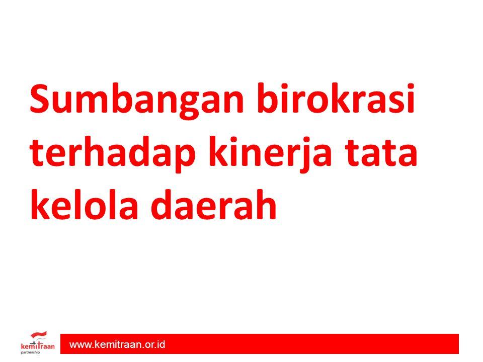 www.kemitraan.or.id Sumbangan birokrasi terhadap kinerja tata kelola daerah