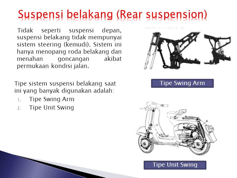 Tidak seperti suspensi depan, suspensi belakang tidak mempunyai sistem steering (kemudi). Sistem ini hanya menopang roda belakang dan menahan goncanga