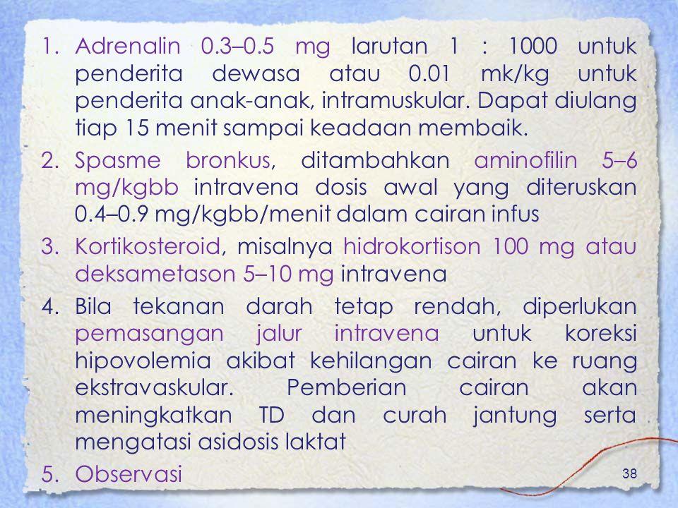 1.Adrenalin 0.3–0.5 mg larutan 1 : 1000 untuk penderita dewasa atau 0.01 mk/kg untuk penderita anak-anak, intramuskular. Dapat diulang tiap 15 menit s