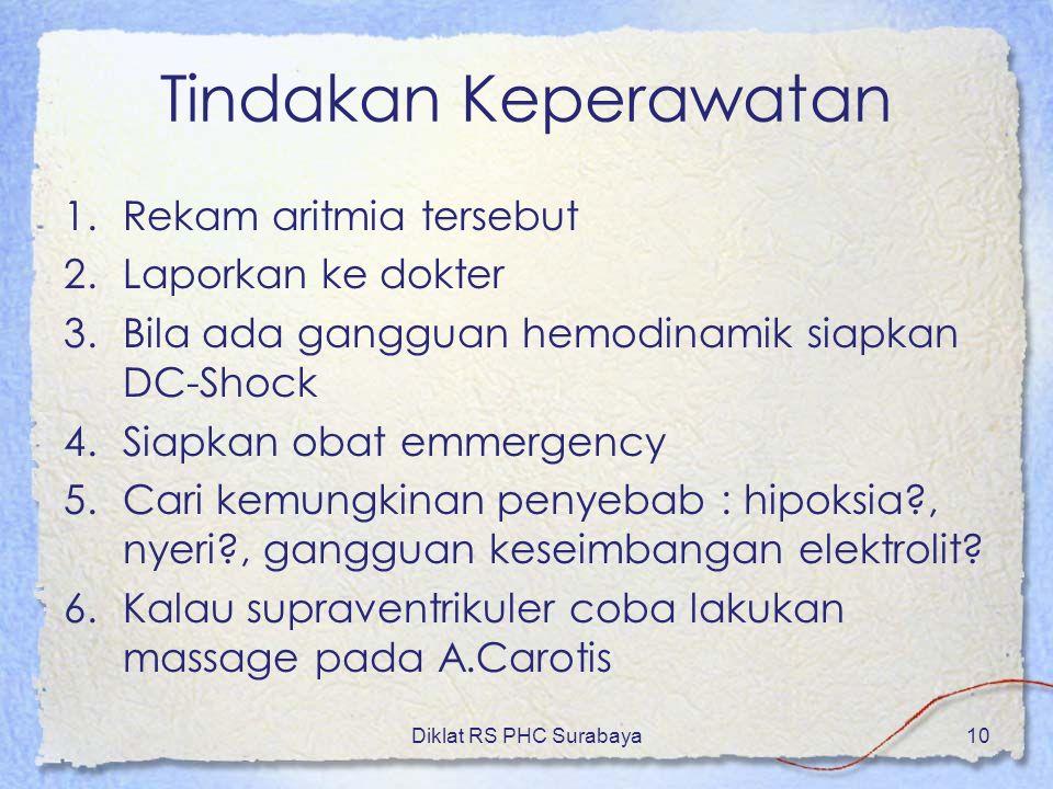 Diklat RS PHC Surabaya10 Tindakan Keperawatan 1.Rekam aritmia tersebut 2.Laporkan ke dokter 3.Bila ada gangguan hemodinamik siapkan DC-Shock 4.Siapkan