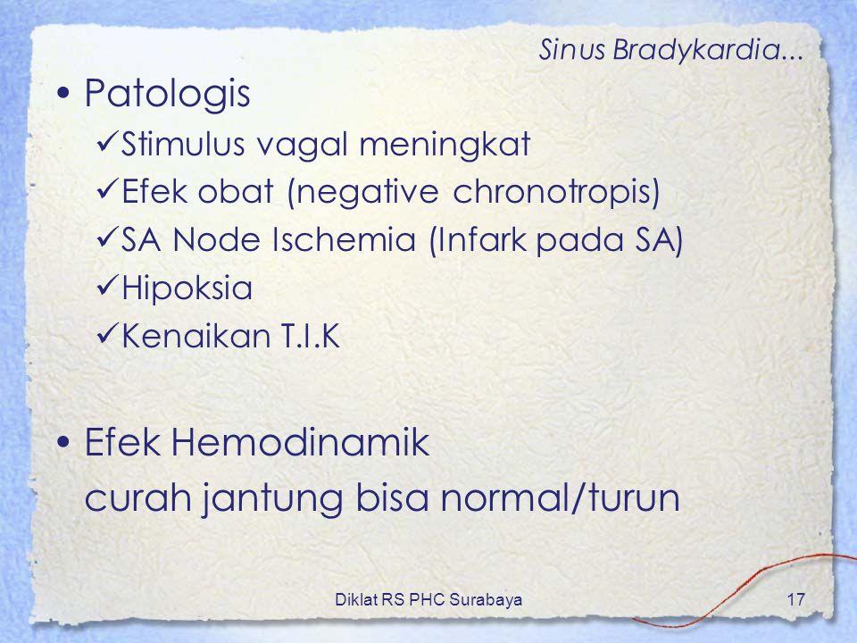 Diklat RS PHC Surabaya17 Patologis Stimulus vagal meningkat Efek obat (negative chronotropis) SA Node Ischemia (Infark pada SA) Hipoksia Kenaikan T.I.