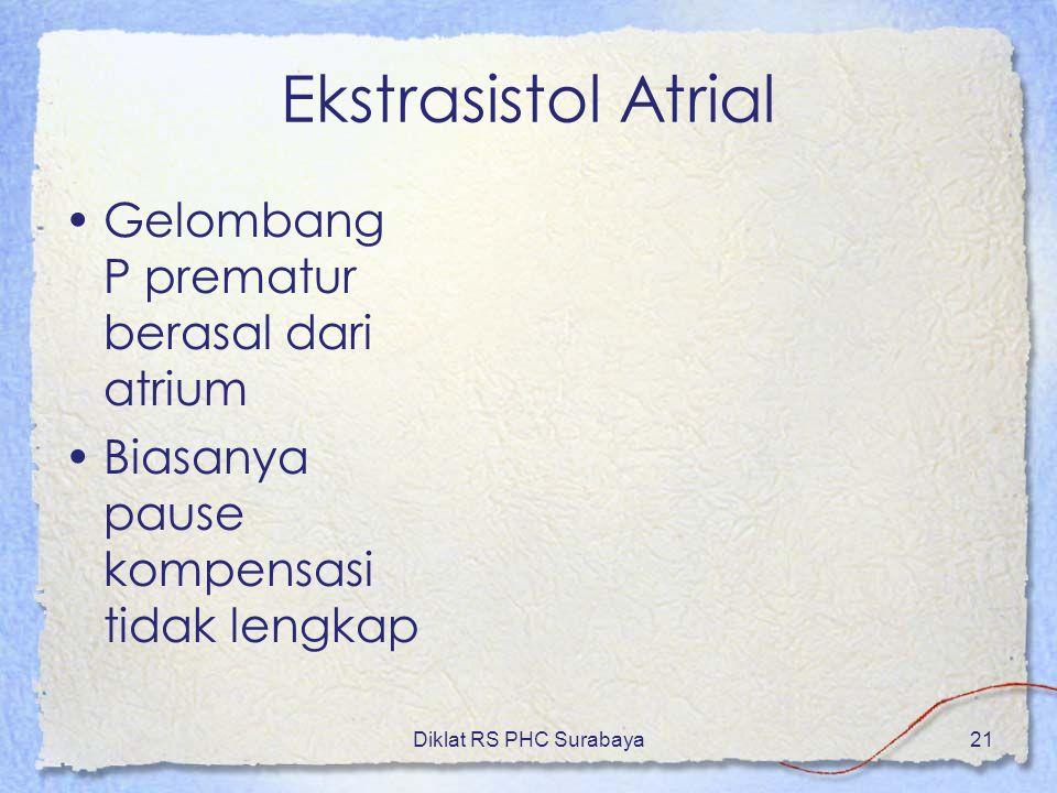 Diklat RS PHC Surabaya21 Ekstrasistol Atrial Gelombang P prematur berasal dari atrium Biasanya pause kompensasi tidak lengkap
