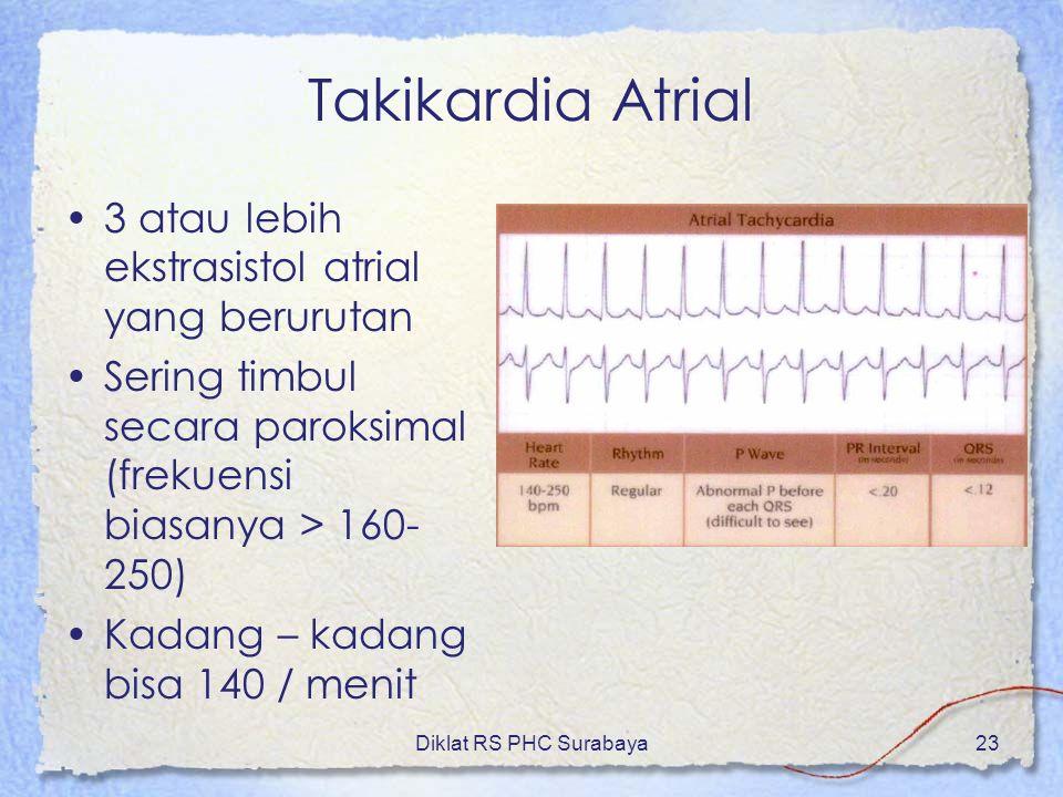 Diklat RS PHC Surabaya23 Takikardia Atrial 3 atau lebih ekstrasistol atrial yang berurutan Sering timbul secara paroksimal (frekuensi biasanya > 160-