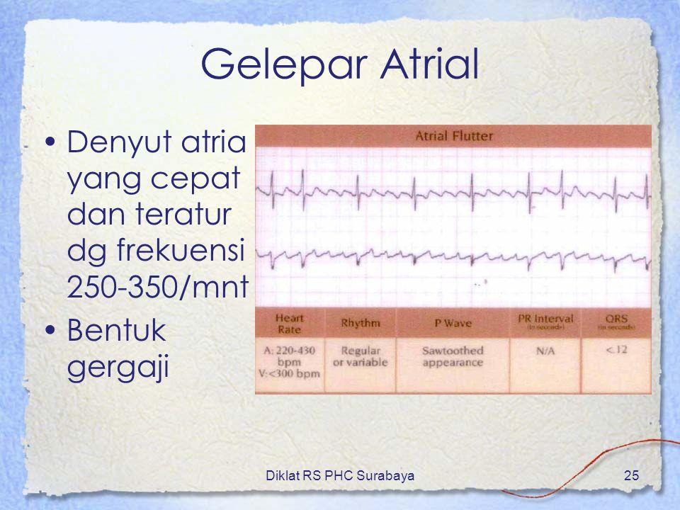 Diklat RS PHC Surabaya25 Gelepar Atrial Denyut atria yang cepat dan teratur dg frekuensi 250-350/mnt Bentuk gergaji