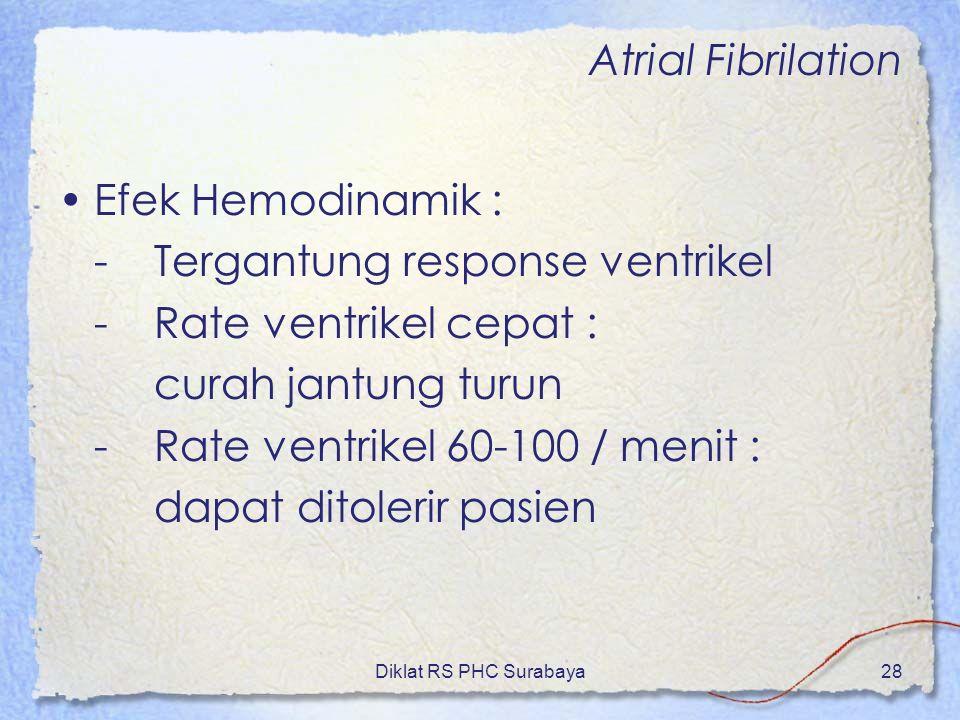 Diklat RS PHC Surabaya28 Atrial Fibrilation Efek Hemodinamik : -Tergantung response ventrikel -Rate ventrikel cepat : curah jantung turun -Rate ventri