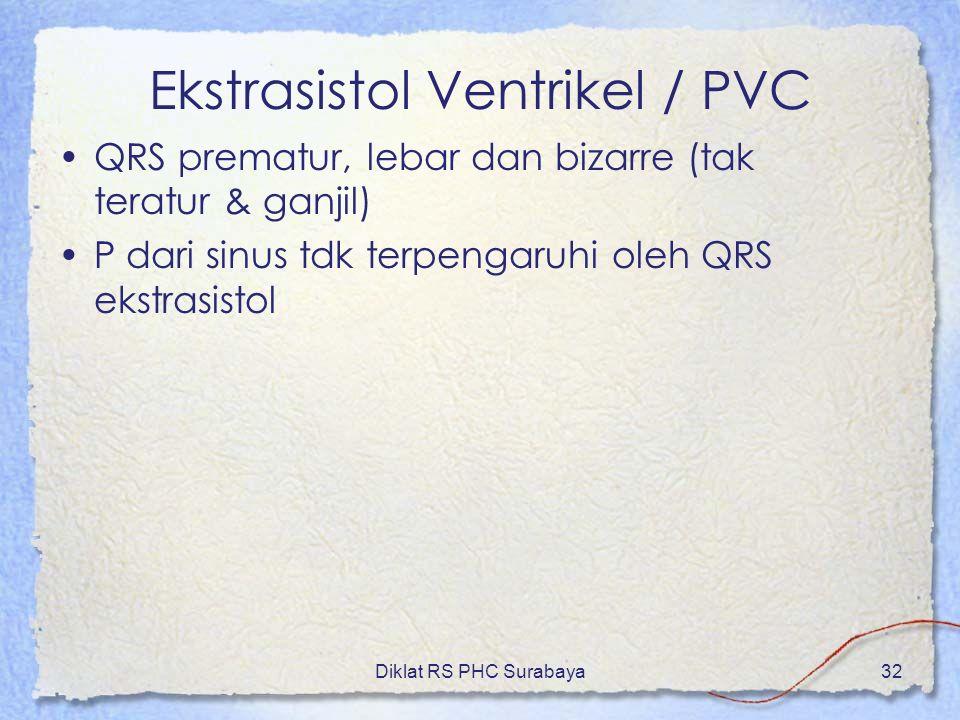 Diklat RS PHC Surabaya32 Ekstrasistol Ventrikel / PVC QRS prematur, lebar dan bizarre (tak teratur & ganjil) P dari sinus tdk terpengaruhi oleh QRS ek