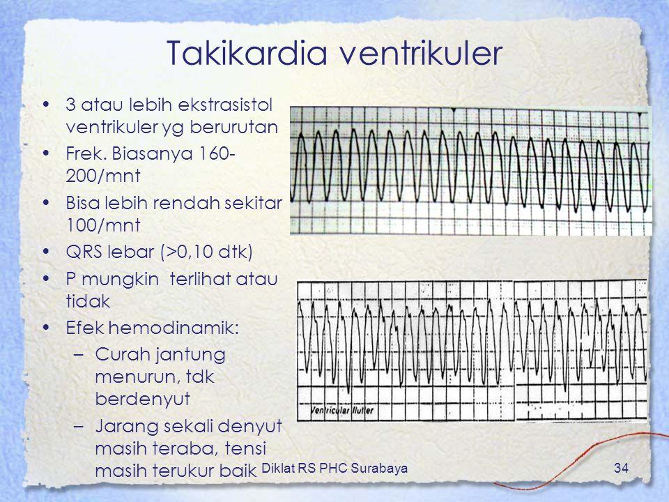 Diklat RS PHC Surabaya34 Takikardia ventrikuler 3 atau lebih ekstrasistol ventrikuler yg berurutan Frek. Biasanya 160- 200/mnt Bisa lebih rendah sekit