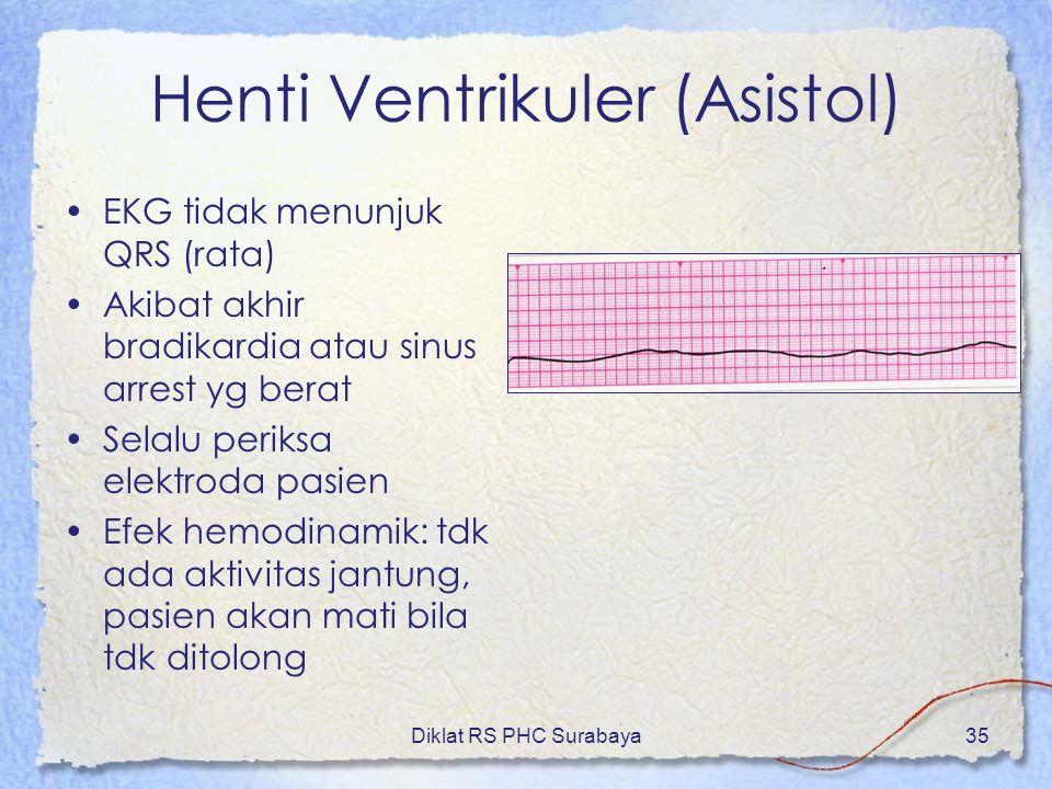 Diklat RS PHC Surabaya35 Henti Ventrikuler (Asistol) EKG tidak menunjuk QRS (rata) Akibat akhir bradikardia atau sinus arrest yg berat Selalu periksa
