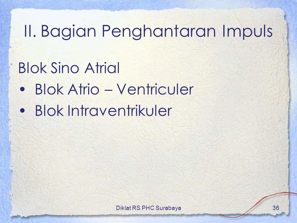 Diklat RS PHC Surabaya36 II. Bagian Penghantaran Impuls Blok Sino Atrial Blok Atrio – Ventriculer Blok Intraventrikuler