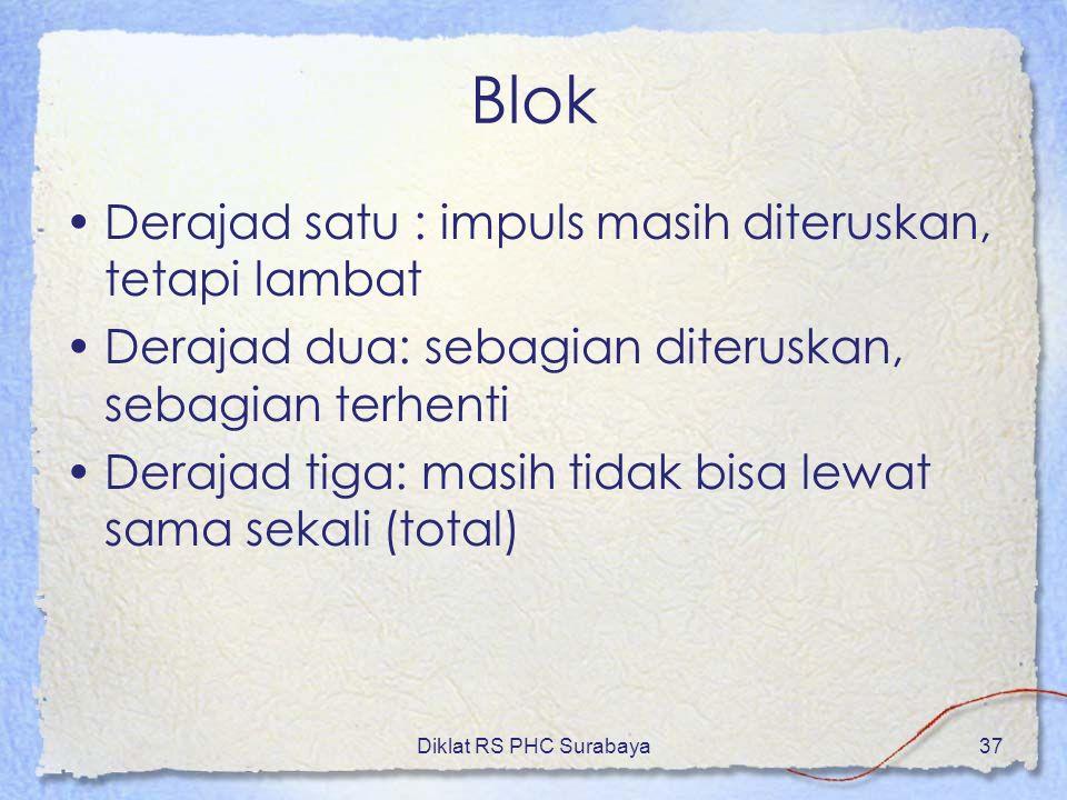 Diklat RS PHC Surabaya37 Blok Derajad satu : impuls masih diteruskan, tetapi lambat Derajad dua: sebagian diteruskan, sebagian terhenti Derajad tiga: