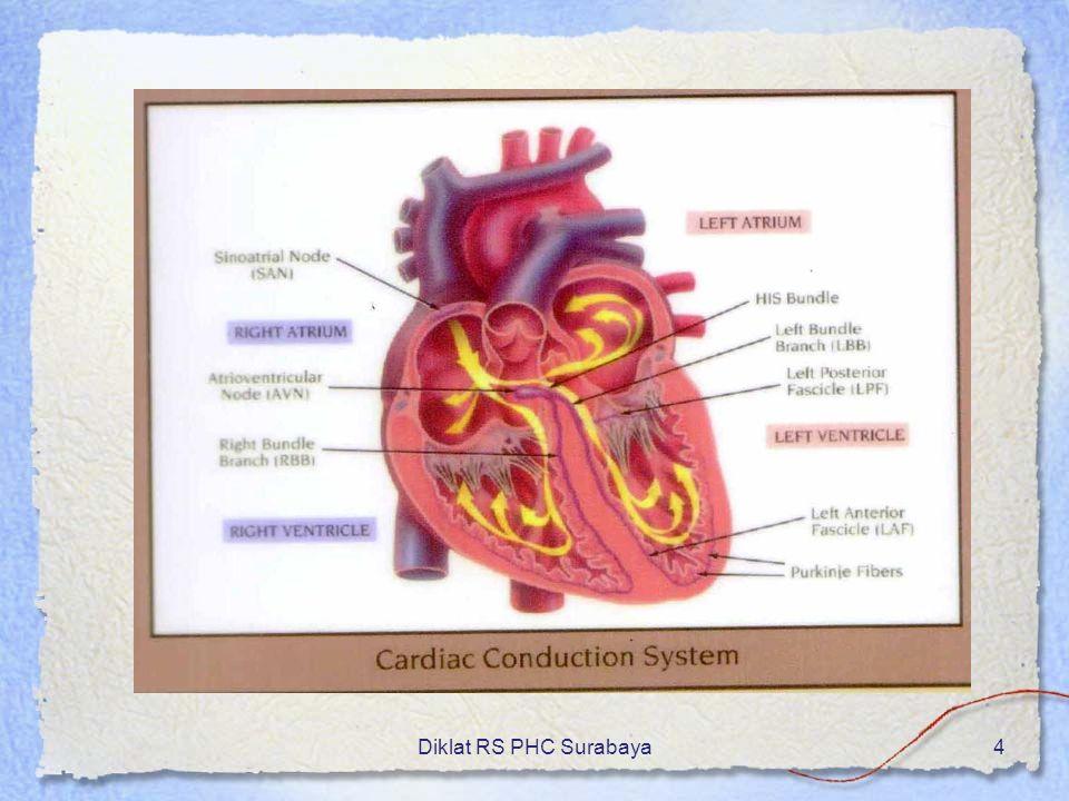 Diklat RS PHC Surabaya35 Henti Ventrikuler (Asistol) EKG tidak menunjuk QRS (rata) Akibat akhir bradikardia atau sinus arrest yg berat Selalu periksa elektroda pasien Efek hemodinamik: tdk ada aktivitas jantung, pasien akan mati bila tdk ditolong