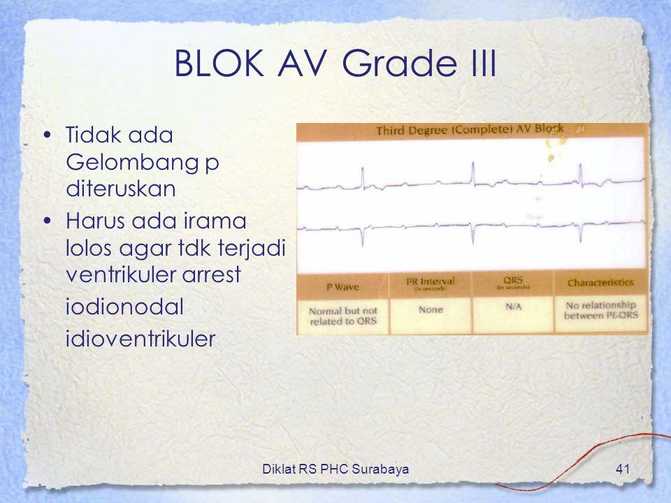 Diklat RS PHC Surabaya41 BLOK AV Grade III Tidak ada Gelombang p diteruskan Harus ada irama lolos agar tdk terjadi ventrikuler arrest iodionodal idiov