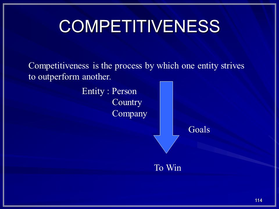 114 COMPETITIVENESS Competitiveness is the process by which one entity strives to outperform another.