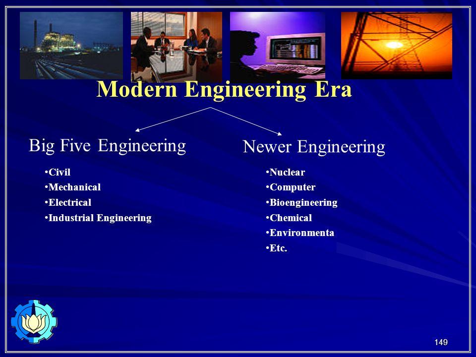149 Modern Engineering Era Big Five Engineering Newer Engineering Civil Mechanical Electrical Industrial Engineering Nuclear Computer Bioengineering Chemical Environmenta Etc.