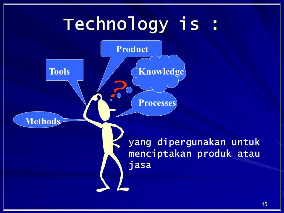 15 Technology is : Tools Product Processes Methods Knowledge yang dipergunakan untuk menciptakan produk atau jasa