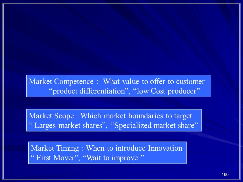 "160 Market Competence : What value to offer to customer ""product differentiation"", ""low Cost producer"" Market Competence : What value to offer to cust"