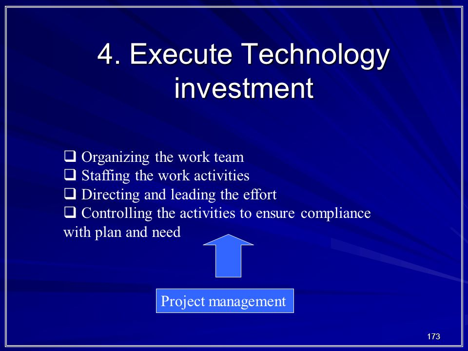 173 4. Execute Technology investment  Organizing the work team  Staffing the work activities  Directing and leading the effort  Controlling the ac