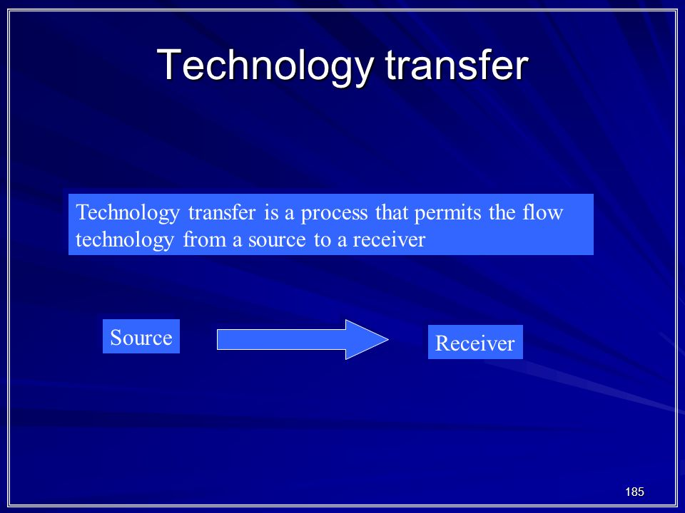 185 Technology transfer Technology transfer is a process that permits the flow technology from a source to a receiver Source Receiver