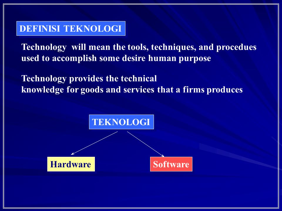 53 Inovasi Teknologi: The initiation of the technical idea, the acquisitionof the necessary knowledge, its transformation into usable hardware or procedure and its introduction into society and its diffusion and adoption to the point where its impact is significant Event Scientifique Jarang Proses Idea komersialisasi Orientasi ke pasar InventionInovasi
