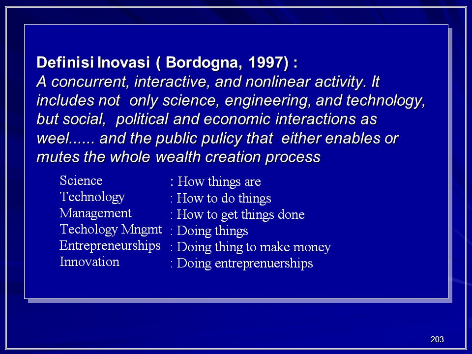 203 Definisi Inovasi ( Bordogna, 1997) : A concurrent, interactive, and nonlinear activity. It includes not only science, engineering, and technology,