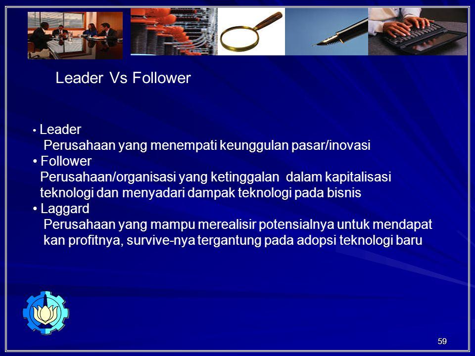 59 Leader Vs Follower Leader Perusahaan yang menempati keunggulan pasar/inovasi Follower Perusahaan/organisasi yang ketinggalan dalam kapitalisasi teknologi dan menyadari dampak teknologi pada bisnis Laggard Perusahaan yang mampu merealisir potensialnya untuk mendapat kan profitnya, survive-nya tergantung pada adopsi teknologi baru