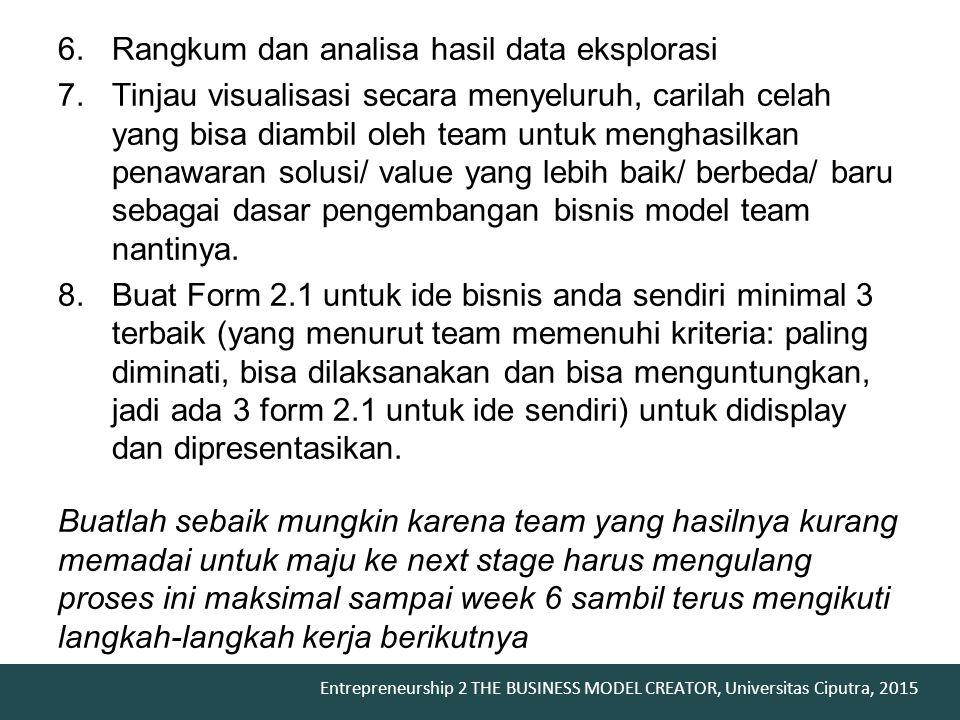 Entrepreneurship 2 THE BUSINESS MODEL CREATOR, Universitas Ciputra, 2015 6.Rangkum dan analisa hasil data eksplorasi 7.Tinjau visualisasi secara menye