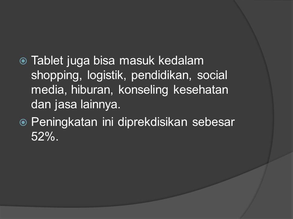  Tablet juga bisa masuk kedalam shopping, logistik, pendidikan, social media, hiburan, konseling kesehatan dan jasa lainnya.