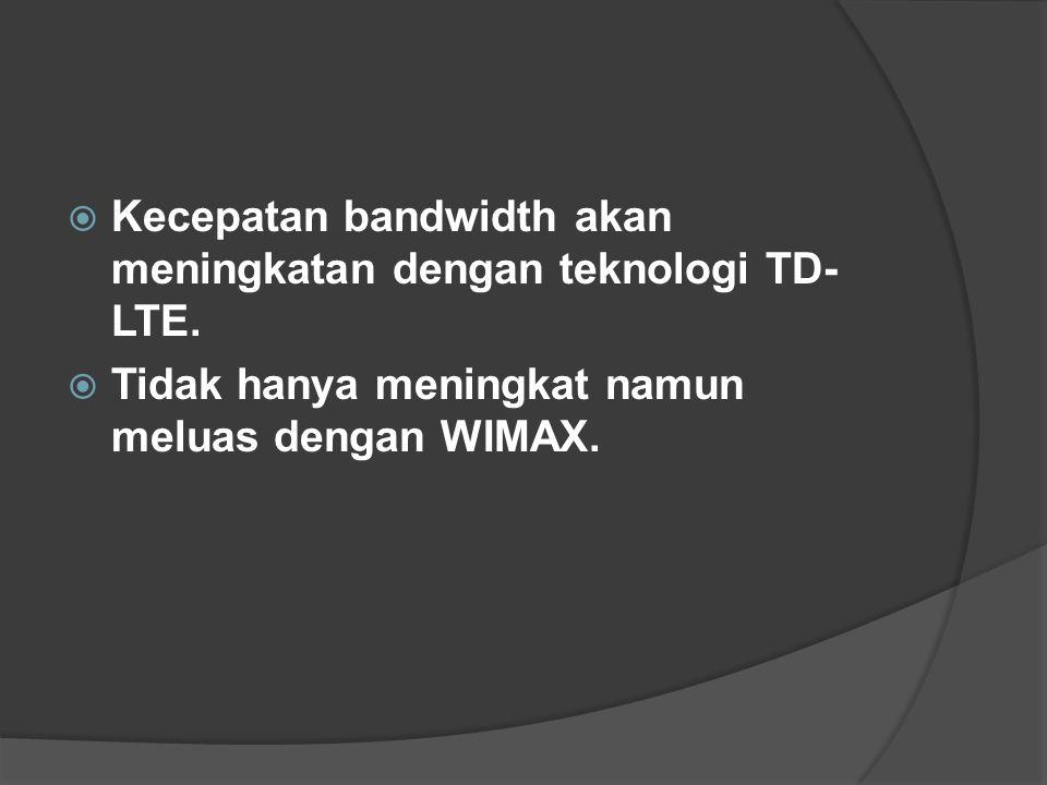  Kecepatan bandwidth akan meningkatan dengan teknologi TD- LTE.